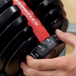 bowflex adjustable dumbbells - selecttech 552 - dial view