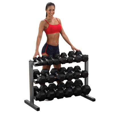 body solid GDR363 - rack with hex dumbbells
