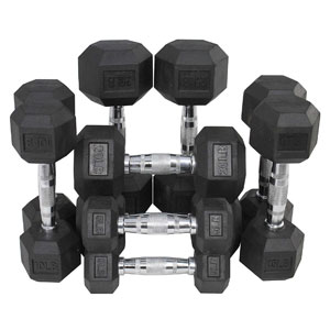 Titan Fitness Rubber Coated Hex Dumbbell Weight Set